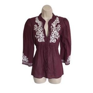 Joie Purple Embroidered Blouse